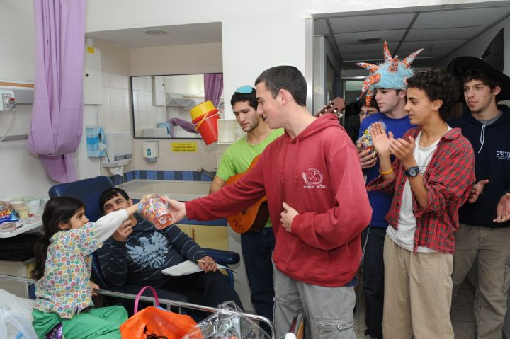 Distributing goodies to children in the hospital
